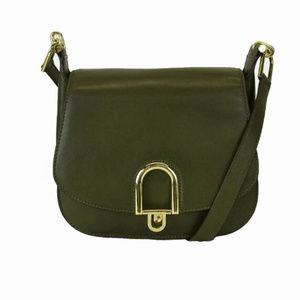 MICHAEL KORS Olive Green Leather Shoulder Bag$368.